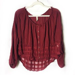 Free People Red Button Down Crop Top
